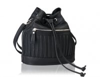 Draw string bucket bag with ribbing detail-Available in Navy, Black and Merlot