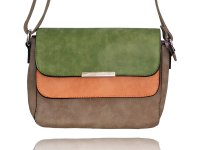 Small square cross body bag with double flaps