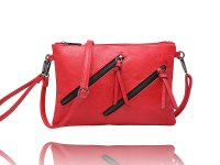 Small clutch/wristlet with 2 diagonal zippers and long shoulder strap