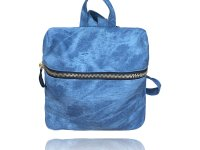 Medium square backpack made from denim texture vegan leather