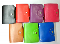 12 pcs small credit card holder with leather cover, hold 26 cards Must be ordered in 12 piece pack. $3.25 each, $39/pk Comes in Blackx2, Redx2, Fuchsiax2, Camelx2, Bluex1, Greenx1 and purplex2, 7 colors per package of 12 pieces.
