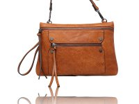 Small cross body with 2 front zippered pockets wristlet