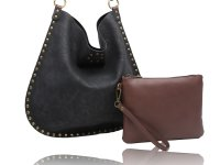 Large U shaped hobo with studs around edge and a inner bag