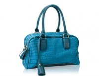 Small double zipper 2 tone satchel with long shoulder strap